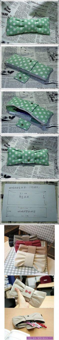 bow tie pen case; make bigger for clutch.. Super cute