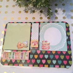 Macaroon themed sticky notes with laminated dashboard.