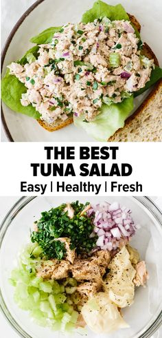 The BEST Tuna Salad Recipe Tuna salad is a light and fresh comfort food classic. Made with a few simple ingredients it's an easy, flavorful and healthy lunch or dinner recipe. Best Tuna Salad Recipe, Healthy Tuna Salad, Healthy Salad Recipes, Lunch Recipes, Cooking Recipes, Vegetarian Salad, Salad With Tuna, Tuna Lunch Ideas, Classic Tuna Salad Recipe