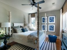 The elegant guest bedroom at HGTV Dream Home 2013 takes its color palette inspiration from the Southern indigo plant.