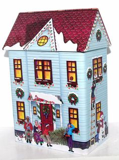 Kelsen BLUE Embossed Christmas Holiday House Metal Tin