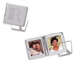 Sterling Silver Engraved Square Locket Cuff Links - Fathers Day Gift?