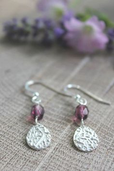 Purple teardrop earrings, berry earrings, purple berry earrings, silver teardrops, purple drop earrings, purple jewelry