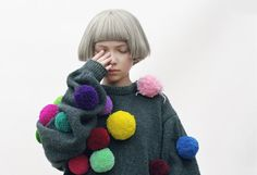 Pompom sweater  love that hair to bits