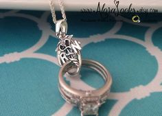 Registered Nurse RN or Medical Doctor MD Caduceus Wedding Band / Engagement Ring holding Necklace / Holder Pendant by AloraLocks