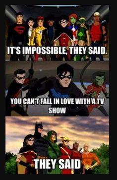 It's depressing I got to deep and Kid Flash omg ugh I made the impossible happen (Young Justice) Young Justice League, Young Justice Funny, Young Justice Robin, Kid Flash, Im Batman, Dc Memes, Nightwing, Batgirl, Marvel Dc Comics
