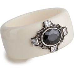Reduced Again ✂ 🎉HP🎉 Miriam Salat Deco Cuff 💎 A glossy resin cuff is beautifully accented with a black faceted cubic zirconia (NOT crystals, CZ) set in the center of sterling silver medallion with clear cubic zirconia. 🌟💖🎉 Back to Basics Party Host Pick 🌟💖🎉 Miriam Salat Jewelry Bracelets