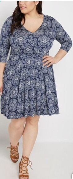 db069f3dac72d Rue 21 Plus Size 2x 18 20 Navy Blue White Boho Skater Dress Medallion Nwt  Flowy