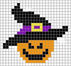 Halloween pumpkin witch perler bead pattern