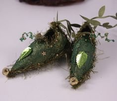 Fairy Shoes belong to Mossy tumbleweed Faerie forest moss green and gold leaf