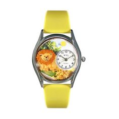 Lion Yellow Leather And Silvertone Watch