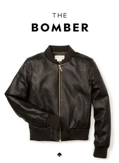 the kate spade new york broome street leather bomber jacket: our designers reimagined this utilitarian military classic in a slimmer shape and the most buttery lambskin leather. wear it with casual tees and jeans and fancy cocktail dresses alike.