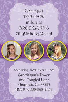 Tangled Rapunzel Birthday Party Invitation  by HeathersCreations11, $10.00
