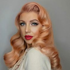 Coral Hollywood waves for @irinabilka. #Hair #Hairstyle #Hollywoodwaves #Waves #Curls #Vintagehair #Pinuphair #Retro #Coral #Peachy #Haircolor #Color #Hotd #Suavecitapomade #Suavecita