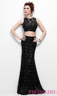 Floor Length Two Piece Sequin and Lace Dress by Primavera at PromGirl.com