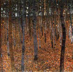 Gustav Klimt >> Beech Forest, 1902 - Dresden, Morderne Galerie | (Oil, artwork, reproduction, copy, painting).