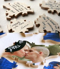 Wedding guest book ideas: Puzzle pieces - Pick an engagement photo and have it turned into a puzzle; guests write on the backs of the pieces! Wedding Guest Book, Our Wedding, Dream Wedding, Wedding Stuff, Crafty Wedding Ideas, Marry You, Alternative Wedding, Here Comes The Bride, Wedding Trends