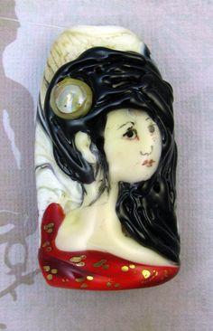 Lampwork Geisha Focal Bead Shinja by judeldeebeads on Etsy