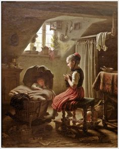 Johann Georg Meyer von Bremen (German, 1813 – 1886) «Tending the Little Ones» @@@....http://www.pinterest.com/mashrie/art5-town-house-people/