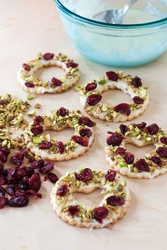 Get started on your holiday baking and try these Lemon Pistachio Wreath Cookies! Holiday Baking, Christmas Baking, Christmas Time, Holiday Treats, Holiday Recipes, Winter Recipes, Christmas Treats, Baking Magazines, Healthy Filling Snacks