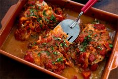 Greek Baked Fish With Tomatoes and Onions Recipe - NYT Cooking Fish Dishes, Seafood Dishes, Fish And Seafood, Seafood Recipes, Cooking Recipes, Healthy Recipes, Vegetarian Recipes, Dishes Recipes, Meat Recipes