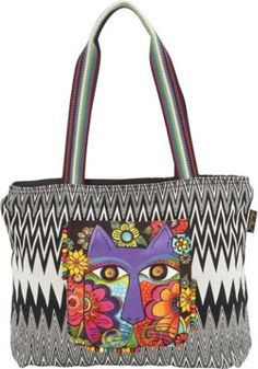 Laurel Burch Blossoming Flowers Canvas Teal Green Handbag Oversize Tote NWT