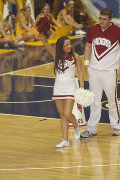 The University of Arkansas Cheerleaders during a timeout at the 2012 SEC Women's Basketball Tournament game between the LSU Lady Tigers and the University of Arkansas Lady Backs on March 2, 2012 - college cheerleading #cheer  #KyFun