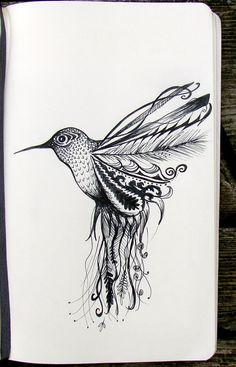 Trendy Ideas For Humming Bird Doodle Bird Doodle, Doodle Art, Doodle Flowers, Drawing Sketches, Art Drawings, Mandala, Hummingbird Tattoo, Copics, Cute Tattoos
