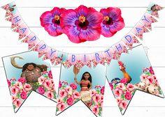 MOANA cumpleaños BANNER imprimible Moana Banner Digital Moana Moana Party Decorations, 1st Birthday Decorations, Birthday Bunting, Happy Birthday Banners, Moana Disney, Moana Birthday Party Theme, 2nd Birthday, Maui, Jackson Storm
