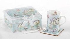 Tea Garden Mug with Spoon and Coaster Gift Box Set - Roses And Teacups