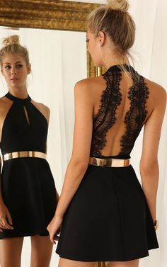 Graceful Halter Little Black Dresses with Gold Sash Homecoming Dresses,Hot 40