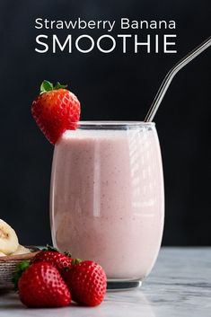 The Best Easy & Healthy Strawberry Banana Smoothie Recipe The BEST strawberry banana smoothie recipe ever! It's easy (ready in less than 5 minutes), healthy, and made with yogurt so it's full of protein! It's the perfect snack or breakfast! Best Strawberry Banana Smoothie Recipe, Smoothie Recipes With Yogurt, Smoothie Recipes For Kids, Protein Smoothie Recipes, Breakfast Smoothie Recipes, Apple Smoothies, Strawberry Recipes, Healthy Recipes, Healthy Smoothies