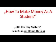 How To Make Money As A Student - http://meetjacobwedzik.com/withoutawebsite Here's A Totally New And Dummy-Proof Method That Let's You Bank $80 Per Day In 43 Minutes Per Day… Without A Website!