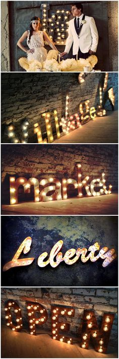 If I had a large warehouse apartment I'd have one of these Warehouse Apartment, Warehouse Living, Light Letters, 3d Letters, Wedding Graphics, Warehouse Wedding, Industrial Living, Holiday Parties, Rustic Wedding