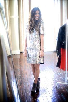 Courtney Kerr // Dress and boots style // Daytime sparkle. What Courtney Wore, Courtney Kerr, Dressy Dresses, Classy And Fabulous, New Wardrobe, Fashion Outfits, Womens Fashion, Autumn Winter Fashion, Dress To Impress