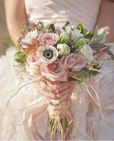 Dresses, Pink White Green Wedding Bouquet Arrangement: Beautiful wedding dresses by Sareh Nouri from Bohemian Wedding Inspirations