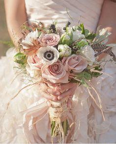 Dresses, Pink White Green Wedding Bouquet Arrangement: Beautiful wedding dresses by Sareh Nouri from Bohemian Wedding Inspirations
