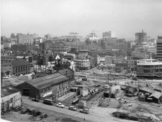 """""""This is an absolute stunner and shows the city in the midst of great change.  Slap bang in the centre is The Victoria pub that is in John Bright Street, the stated subject of the picture.  Note the Rotunda being erected over to the right.  You can just about see Holloway Circus Queensway over to the far right, close to what was to become the offices of the Amalgamated Engineering Union."""""""