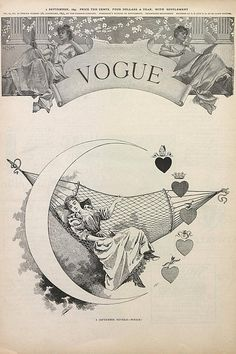 """Vogue --- September 2, 1893 """"A September Reverie - Which?"""" I think the 5 symbols represent Religion, Royalty, Medicine, Money, and Love."""
