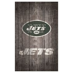 "NFL New York Jets Distressed Wood Logo 11"" x 19"" Sign - Gray"