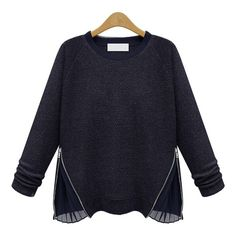 SheIn(sheinside) Navy Round Neck Long Sleeve Zip Sweater ($19) ❤ liked on Polyvore featuring tops, sweaters, navy, navy blue pullover, navy blue top, zip pullover, blue pullover sweater and navy sweater