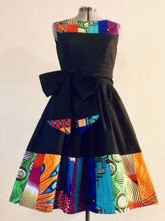 Crystal Color African Wax and Kona Cotton Midi Length Fit and Flare Dress With Pockets and Sash Belt Luxurious Cotton African Party Dresses, Latest African Fashion Dresses, African Print Dresses, African Print Fashion, Africa Fashion, African Wear, African Dress, African Clothes, Ankara Fashion