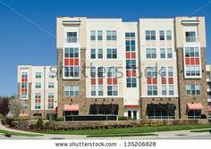 Modern apartment complex exterior - stock photo