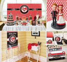Red, Black & White Rockabilly Wedding. I love everything about this!