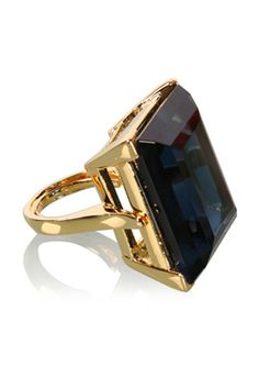 Kenneth Jay Lane BLUE RECTANGULAR CUT RING