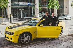 The black and yellow Camaro is a cool choice of unusual wedding car for petrolhead grooms – we love the idea of booking it for them as a surprise. Source by mitserdof Wedding Car Decorations, Wedding Cars, Wedding Blog, Wedding Decor, Yellow Camaro, Black Camaro, Noble People, Wand Tattoo, Sport Cars