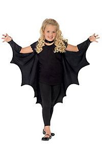 Girl's Vampire Bat Wings With High Collar Costume