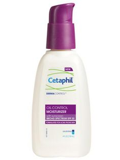 Cetaphil DermaControl Moisturizing SPF 30  We've discovered your next drug-store staple. The latest daily moisturizer from Cetaphil won't irritate your acne, provides UV protection, and contains calming licorice root extract.