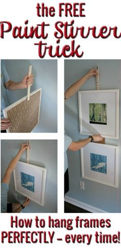 Picture Hanging Hack. Gallery Wall Ideas and Inspiration for PIcture Frame Displays.  Family picture frame ideas and ornament for displaying your home portraits.