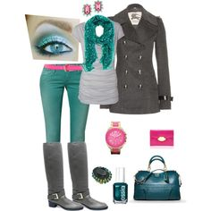 """Teal Grey and Pink"" by crzrdnk77 on Polyvore"